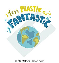 Vector poster with hand drawn Earth and lettering.