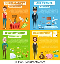 Vector posters of shopping, jewelry and air travel -...