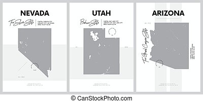 Vector posters with highly detailed silhouettes of maps of the states of America, Division Mountain - Nevada, Utah, Arizona - set 14 of 17