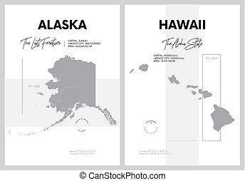 Vector posters with highly detailed silhouettes of maps of the states of America, Division Pacific - Alaska, Hawaii - set 17 of 17