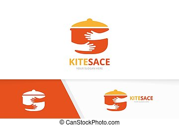 Vector pot and hands logo combination. Kitchen and hug symbol or icon. Unique pan and embrace logotype design template.
