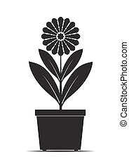 vector, pot., bloem, black , illustration.