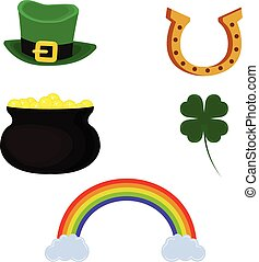 Vector pot of gold, leprechaun hat, horseshoe, four leaf clover and rainbow. Set of symbol for St. Patrick's Day. Isolated on white background.