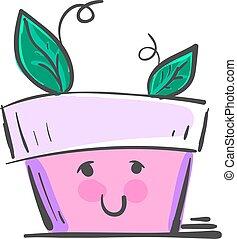 vector, pot, of, kleur, illustration., schattig, vrolijke