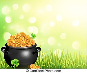 Vector pot of magic gold on bokeh light background - Vector ...