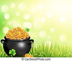 Vector pot of magic gold on bokeh light background - Vector ...