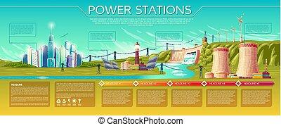 vector, potencia, estaciones, infographics, plantilla