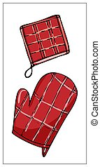 Vector potholder isolated on a white background.