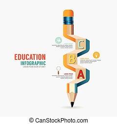vector, potlood, concept, illustration., zijn, hout, /, creatief, gebruikt, groenteblik, mal, infographics, banieren, spandoek