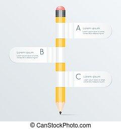 vector, potlood, concept, zijn, banieren, stroom, illustratie, creatief, tabel, gebruikt, groenteblik, mal, infographics, spandoek