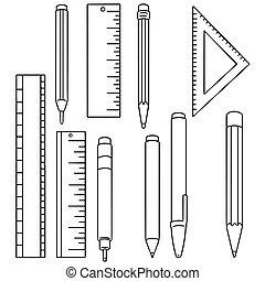 vector, potlood, set, pen, meetlatje