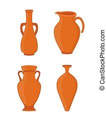 Vector pottery - ancient greek vase, amphora, antique pitcher. Ceramics