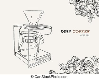 Vector Pour Over coffeemaker illustration. Hand sketched...
