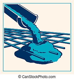 Vector pouring concrete icon - Vector icon of a pouring ...