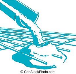 Vector pouring concrete icon
