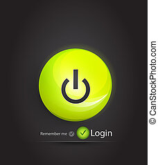 Vector power button. Login page