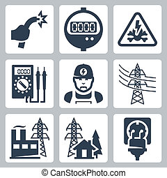 Vector power industry icons set: bared wire, supply meter,...