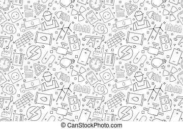 Vector Power industry pattern. Power industry seamless background