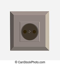 Vector power socket flat icon isolated front view illustration