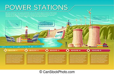 Vector power stations infographics template - Vector cartoon...