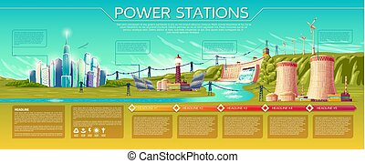 Vector power stations infographics template - Vector power...