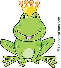 vector, príncipe, ilustración, rana