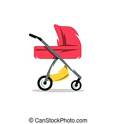 Vector Pram Baby Carriage Cartoon Illustration.