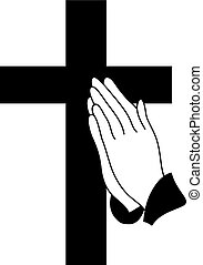 praying hands - vector praying hands cross