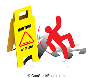 vector, precaución, piso, señal, mojado