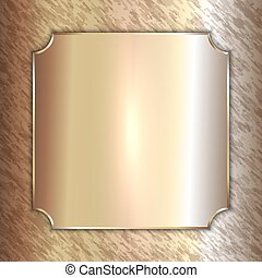 Vector precious metal golden plate on patina background -...