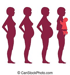 vector pregnancy stages, pregnant woman silhouette, mother ...