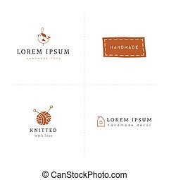 Vector premade colored logo templates. Hand drawn isolated...