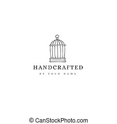 Vector premade logo template with a metal cage. Hand drawn...