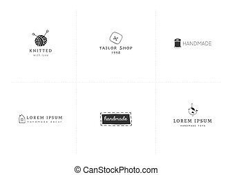 Vector premade logo templates. Hand drawn handmade isolated...