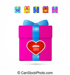 Vector Present Box, Gift Box with Heart