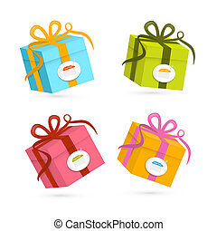 Vector Present Boxes Isolated on White Background