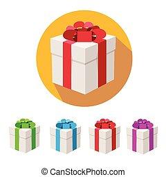 Vector present boxes set. Flat Design