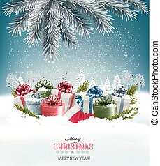 vector., presente boxeia, fundo, feriado, natal