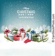 vector., presente, boxes., fundo, feriado, natal