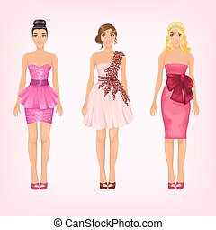 Vector pretty females in different pink cocktail and prom dresse
