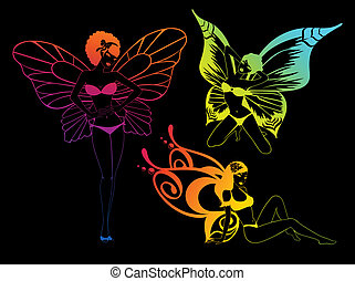 pretty girl with butterfly wings