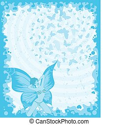 Vector pretty girl with butterfly w
