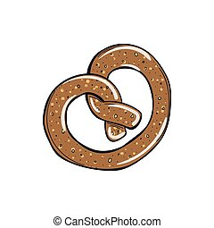 vector pretzel on the white background