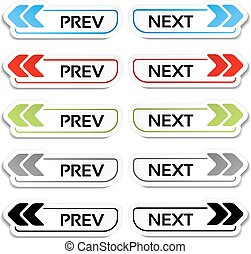 Vector prev, next buttons with arrows - labels, stickers on the white background