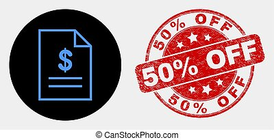 Vector Price List Page Icon and Grunge 50% Off Seal