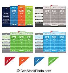 This is a set of vector Price Table Templates. You can scale this image to any size without loss of resolution. Suitable for several web projects. Easy to edit.