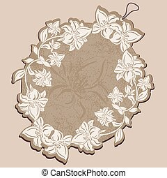 Vector Price Tag beige with floral patterns