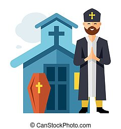 Vector Priest and Church. Flat style colorful Cartoon...