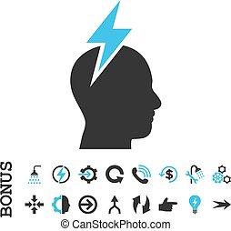 vector, prima, dolor de cabeza, plano, icono