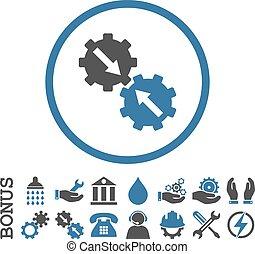 vector, prima, icono, redondeado, plano, integración, engranaje